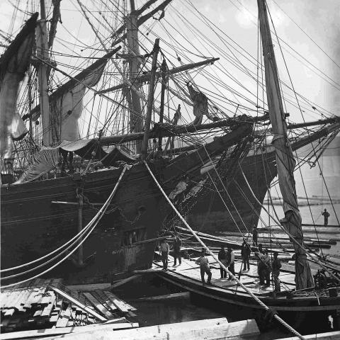 A dozen men unloading a large sailing vessel transporting lumber.