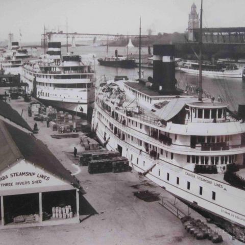 A photograph of large cruise steamers in port, with a bridge under construction in the background.