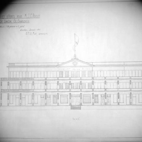 An architectural sketch of a hotel.