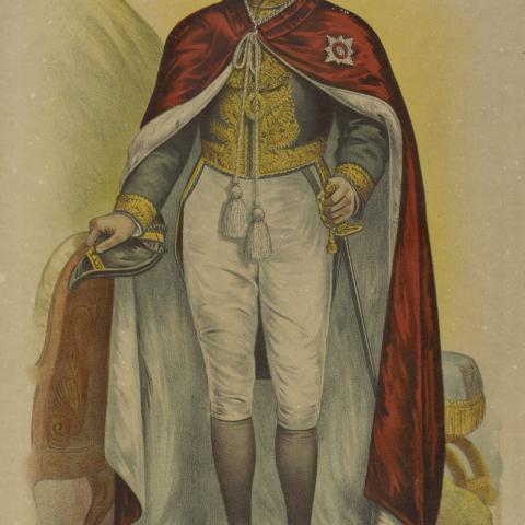 Lithography of an olderman wearing a Royal-style red cape, hand on sword.