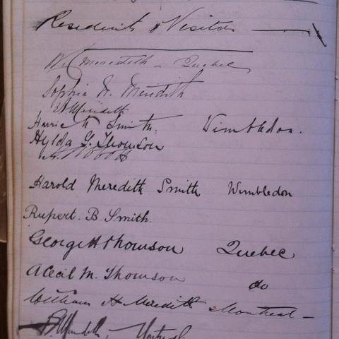 Page d'un journal personnel ancien où plusieurs noms sont écrits à la plume.