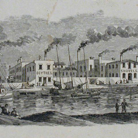 Gravure présentant des usines tout près d'un port où circulent des bateaux à voile et un bateau à vapeur.