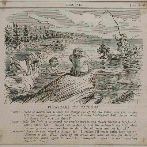 English-language newspaper caricature showing a swimmer talking with a fisherman standing in a rowboat, a strange fish dangling