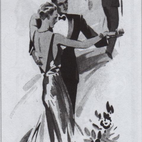 A China ink drawing showing four elegant couples dancing. The men are wearing tuxedos.
