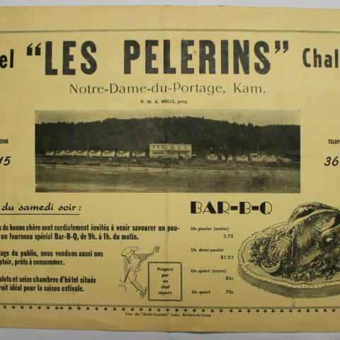 Printed on a placemat, this ad praises of the meals, rooms and cabins at Hôtel Les Pèlerins.