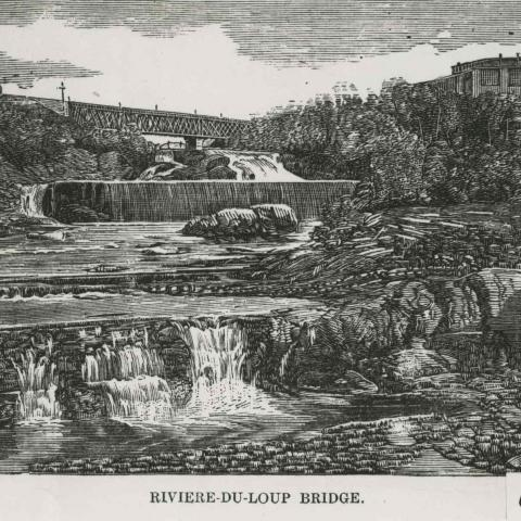 An engraving showing a railroad bridge over a waterfall.