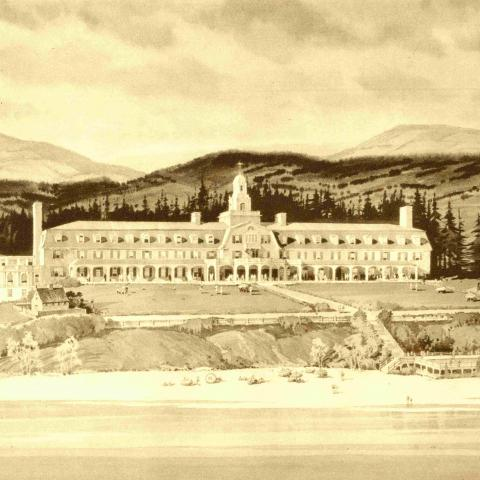 A watercolour showing a grand hotel built between beach and mountains.